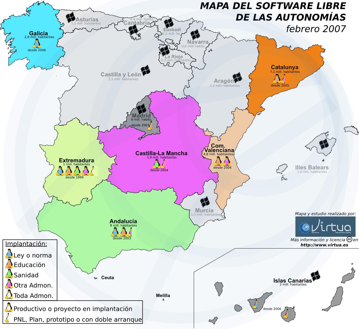 Mapa del Software Libre por autonomas en Espaa  Pillateunlinux